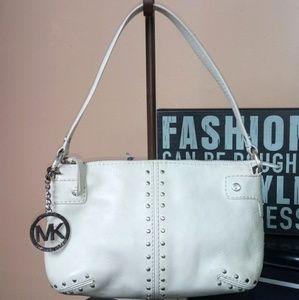 MK Michael Kors White Leather Studded Shoulder Bag